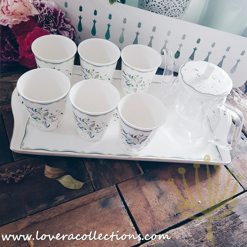 Edin Garden Tea Set With Cups For 6 Pax & Serving Tray with Gift Box