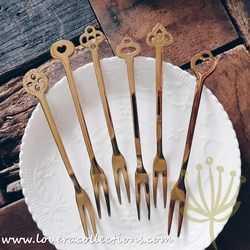 Lovera Collections Elsa Gold Stainless Steel SS304 Dessert / Fruit Fork Cutlery Collection
