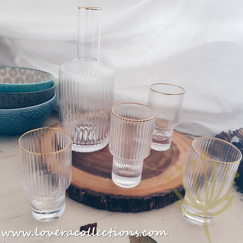 Gold Rim 5 Piece Drinking Glasses & Pitcher Box Set