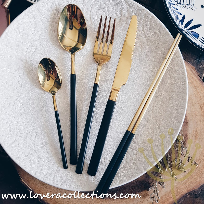 Gold with Black Handles Stainless Steel SS304 Ion Plated Cutlery