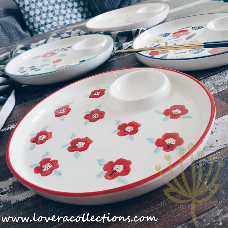 Handmade Assorted Prints Dinner Plate with Sauce Dip Partition