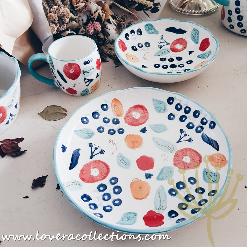 Handmade Turquoise Berries Drinkware & Dinnerware Collection