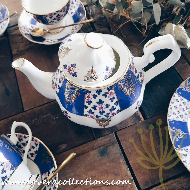 Imperial Blue & Gold High Tea Set & Salad Plate Collection