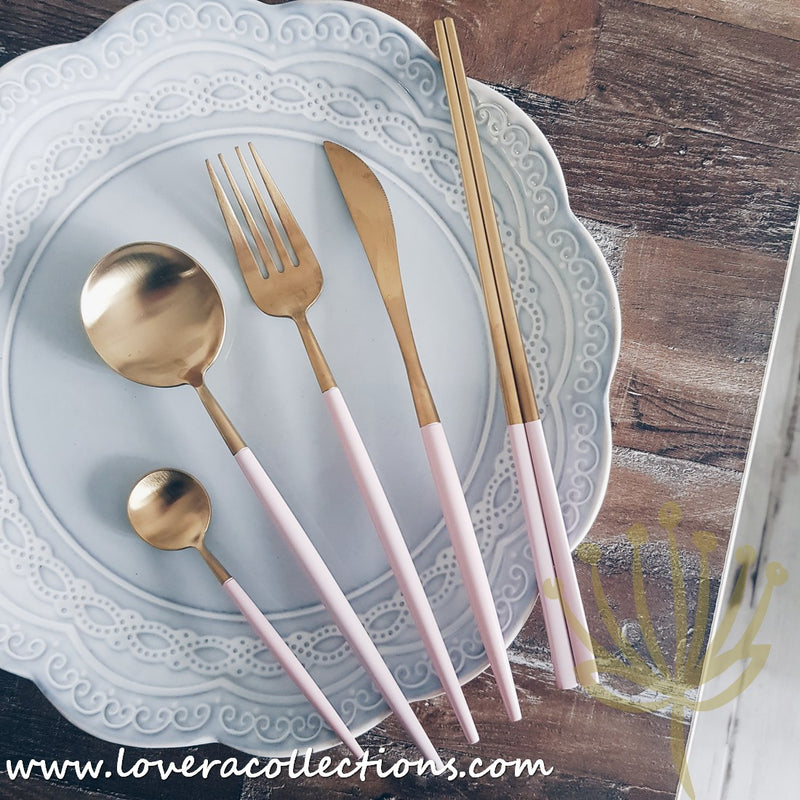 Lux Gold Peach Stainless Steel SS304 Cutlery Collection