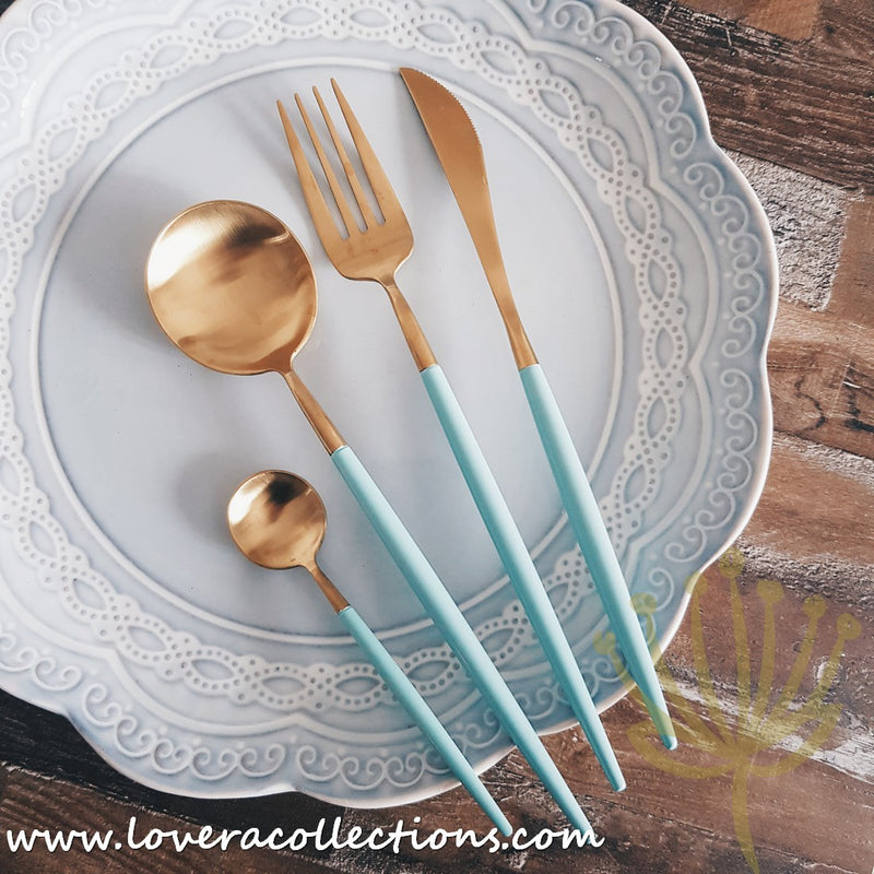 Lux Gold Turquoise Stainless Steel SS304 Cutlery Collection