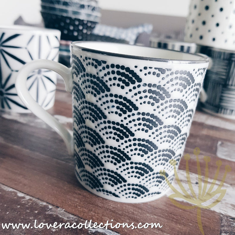 Awasaka Black & White Modern WAVES Dinnerware Collection
