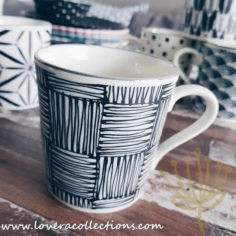 Awasaka Black & White Modern CHECKS Dinnerware Collection