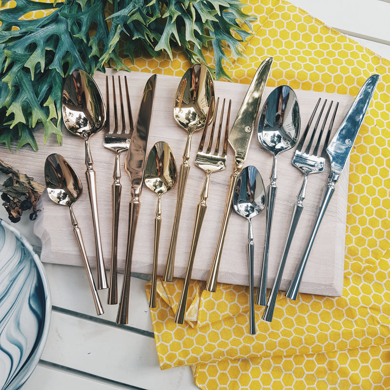 Parisienne Shiny Gold / Silver / Bronze Ion Plated Stainless Steel SS304 Cutlery Collection
