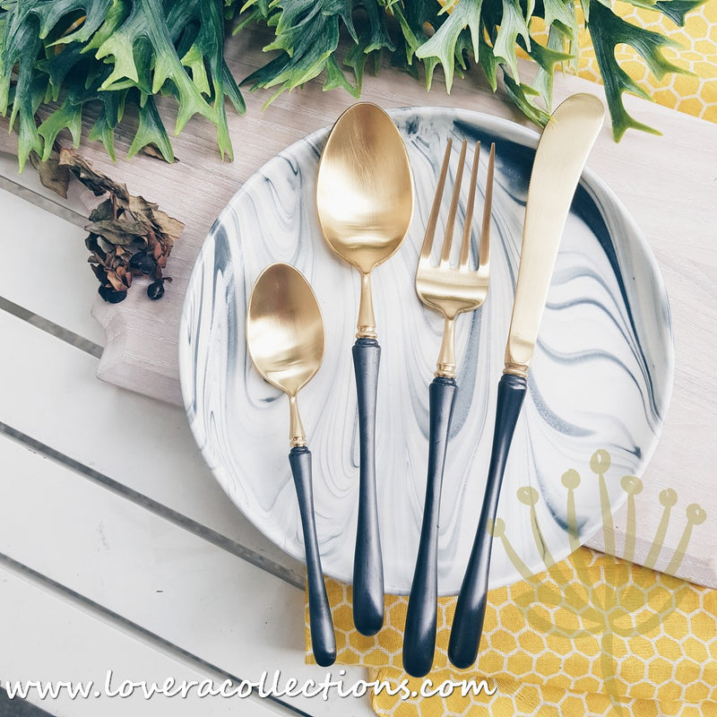 Parisienne Matt Gold & Colorful Handles Stainless Steel SS304 Cutlery Collection