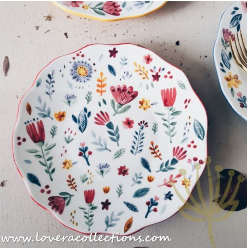 Forest Animals & Floral Salad Plates in Multi-color Base