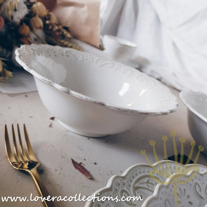 Rustic Motif Embossed White Dinnerware Collection