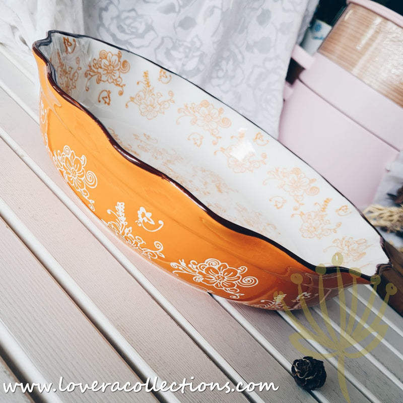 Peranakan Orange Round Baking Pie Dish with Curvy Edges