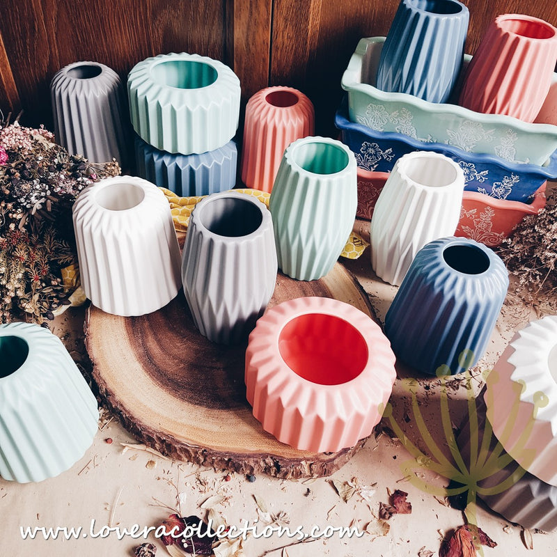 *LAST PRICE CLEARANCE PROMO* Scandinavian Ribbed Short Vases