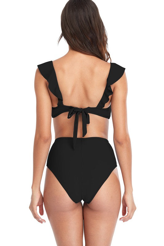 Black High-Waisted Bikini Set