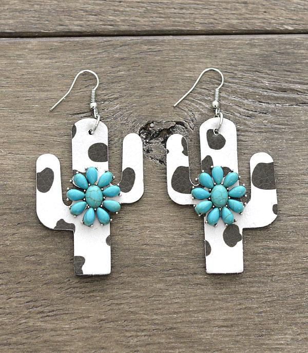 Turquoise Cow Print Earrings