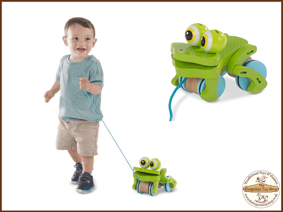 First Play Frolicking Frog Wooden Pull Toy Melissa & Doug - The Forgotten Toy Shop Limited