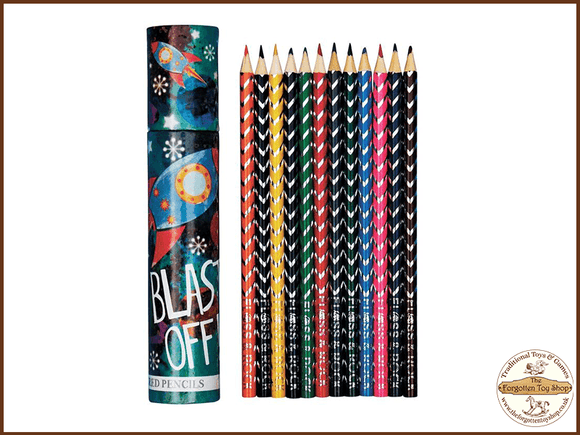 Coloured Pencils - Rocket theme tube case Floss & Rock - The Forgotten Toy Shop Limited