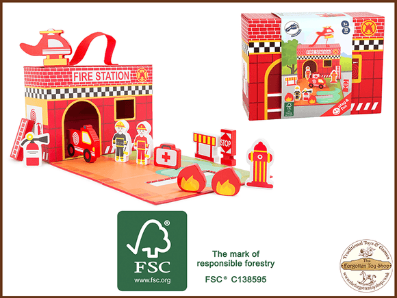 Fire Brigade Theme play set Legler - The Forgotten Toy Shop Limited
