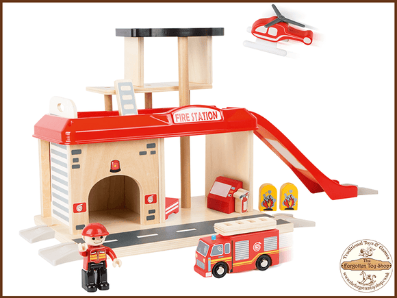 Fire Station with Accessories Legler - The Forgotten Toy Shop Limited