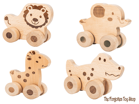 Safari Natural Wooden Push Along Animals Legler - The Forgotten Toy Shop Limited