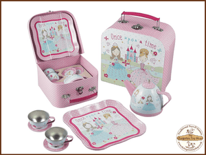Princess Tin 7pc Tea Set in carry case Floss & Rock - The Forgotten Toy Shop Limited