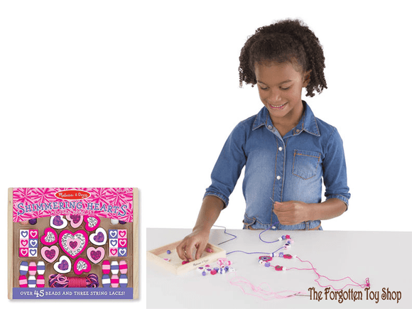Shimmering Hearts Wooden Bead Set Melissa & Doug - The Forgotten Toy Shop Limited