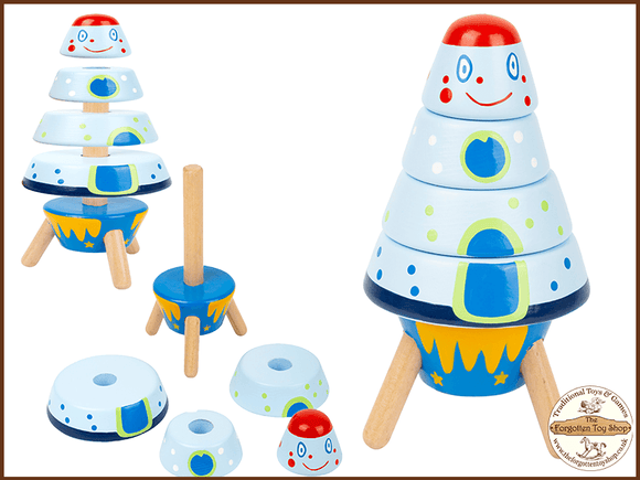 Stacking Space Rocket Legler - The Forgotten Toy Shop Limited