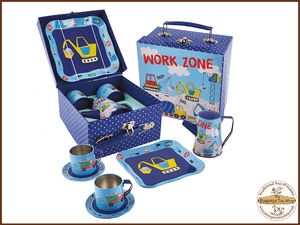 Construction Tea Set 7pc Tin in Square Case Floss & Rock - The Forgotten Toy Shop Limited