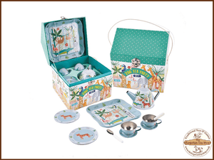 Jungle Tea Set 11pc Tin in house Case Floss & Rock - The Forgotten Toy Shop Limited