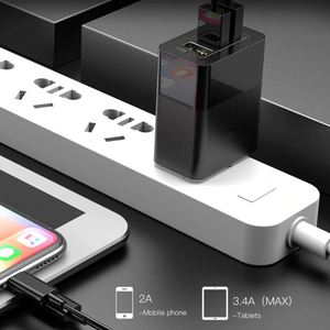 Baseus 3 Port USB Charger 3in1 Triple EU US UK Plug - Baseus