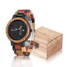 Load image into Gallery viewer, BOBO BIRD Wood Watch Men Women Quartz Week Date Timepiece Colorful Wooden Band logo Customize U-P14-1