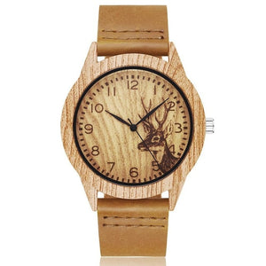 Imitation Wood Watch Men Women Quartz Imitate Wooden Watch Ostrich Deer Man Wristwatch Soft Leather Band Male Wrist Clock Reloj