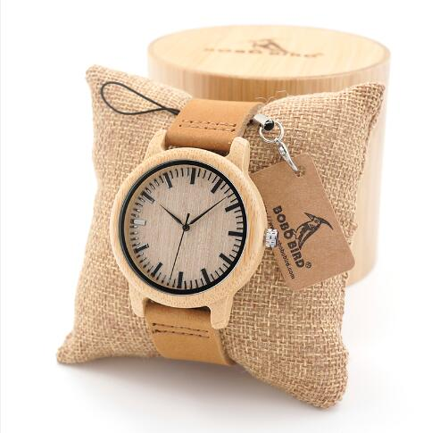 BOBO BIRD Men Natural Wood Bamboo Watches Women Vintage Wooden Male Ladies Watch With Leather Band in gift box custom logo
