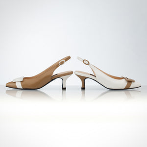 Cream White Slingback Asymmetric Pump