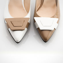 Load image into Gallery viewer, Cream White Slingback Asymmetric Pump