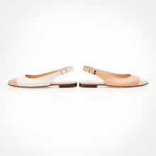 Load image into Gallery viewer, Cream-Ivory Asymmetric Slingback Flat