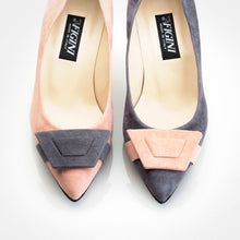 Load image into Gallery viewer, Grey Pink Suede Asymmetric Pump