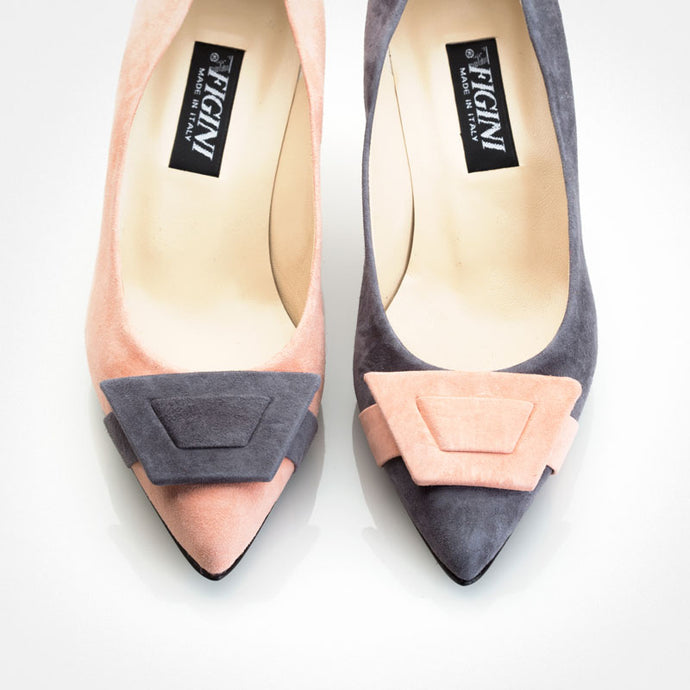 Grey Pink Suede Asymmetric Pump
