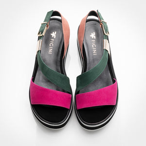 Fuchsia Green Suede Wedge