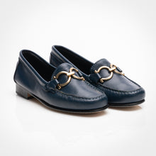 Load image into Gallery viewer, Horseshoe Buckle Blue Loafer