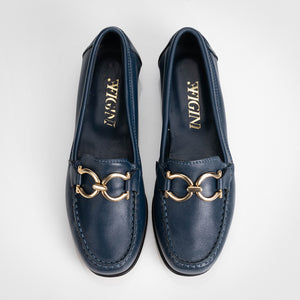 Horseshoe Buckle Blue Loafer