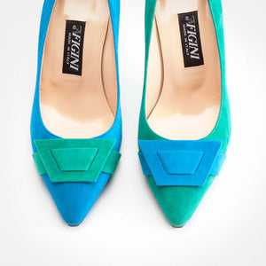 Green Turquoise Suede Asymmetric Pump