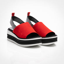 Load image into Gallery viewer, Cherry Red Suede Wedge