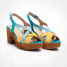 Load image into Gallery viewer, Turquoise Yellow Suede Sandal