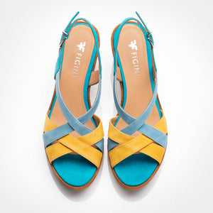 Turquoise Yellow Suede Sandal