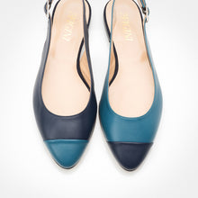 Load image into Gallery viewer, Capri Blue-Navy Asymmetric Slingback Flat
