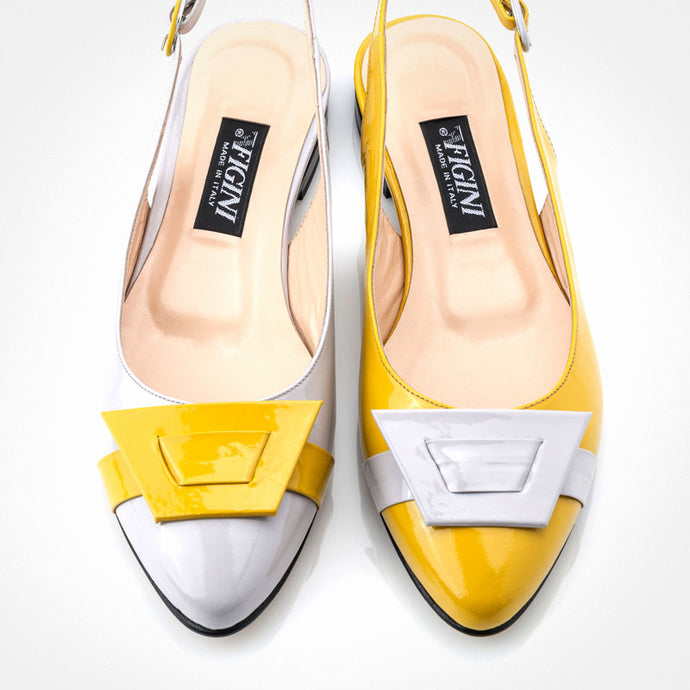 Off-white Yellow Slingback Flat