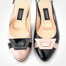 Load image into Gallery viewer, Black Light Pink Slingback Flat
