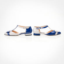 Load image into Gallery viewer, Blue Ivory Mary-Jane Asymmetric Flat