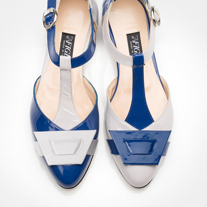 Blue Ivory Mary-Jane Asymmetric Flat